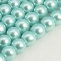 Voskované perly skleněné, koule 6 mm, 50 ks -tyrkys