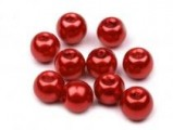 Voskované perly skleněné, koule 6 mm, 50 ks -červená