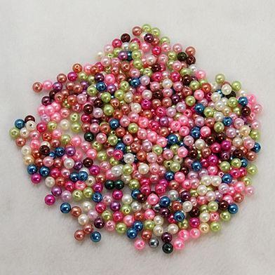 Akrylové korálky - imitace perel 6 mm, 100 ks- mix barev