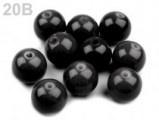 Voskované perly skleněné, koule 10 mm, 100 ks - černá