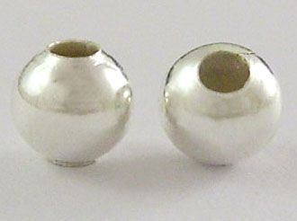 Kovový korálek kulatý 4 mm, 100 ks - barva stříbrná