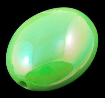 Akryl. korálky ovál 20 ks - zelená+ab