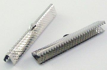 Koncovka krokodýl 35x8 mm, 20 ks - starostříbrná