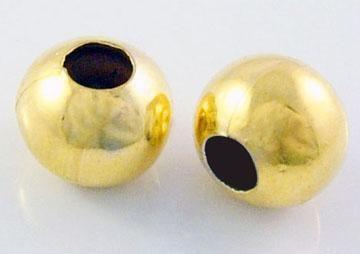 Kovový korálek kulatý 4 mm, 100 ks - barva zlatá