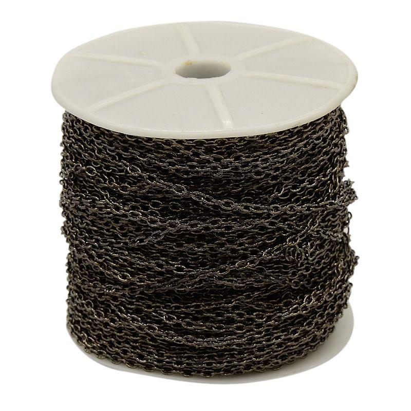 Řetízek zdobený středně jemný 10 m - černá barva