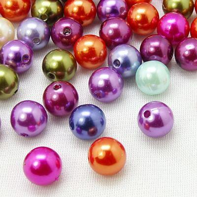 Akrylové korálky - imitace perel 8 mm, 50 ks - mix barev
