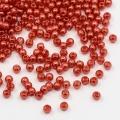 Voskované akrylové perly koule 3 mm, 200 ks - červená