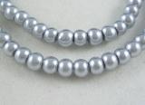 Voskované perly skleněné, koule 12 mm, 50ks - stříbrná