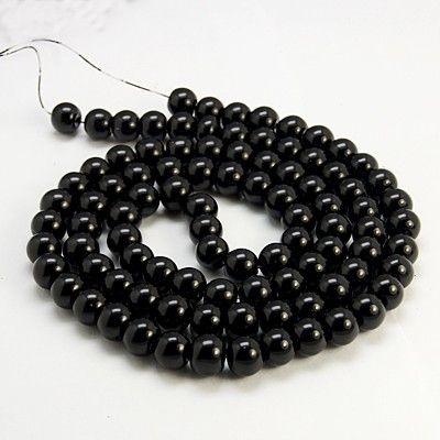 Voskované perly skleněné, koule 4 mm, 100 ks - černá