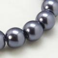 Voskované perly skleněné, koule 6 mm, 200 ks - antracit