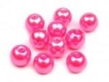 Voskované perly skleněné, koule 4 mm, 100 ks -růžová ostrá