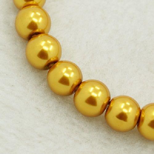 Voskované perly skleněné, koule 6 mm, 50 ks -zlaté