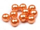 Voskované perly skleněné, koule 8 mm, 25 ks -oranžová tm.