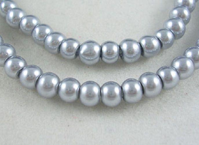 Voskované perly skleněné, koule 8 mm, 25 ks - stříbrná