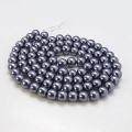 Voskované perly skleněné, koule 6 mm, 50 ks - antracitová
