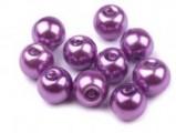 Voskované perly skleněné, koule 10 mm, 10 ks -fialová světlá