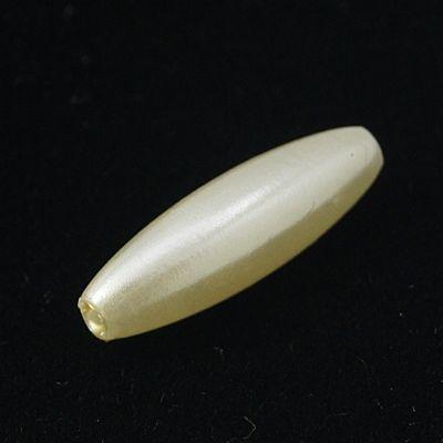 Akrylové korálky voskované - oliva 20 ks - bílá
