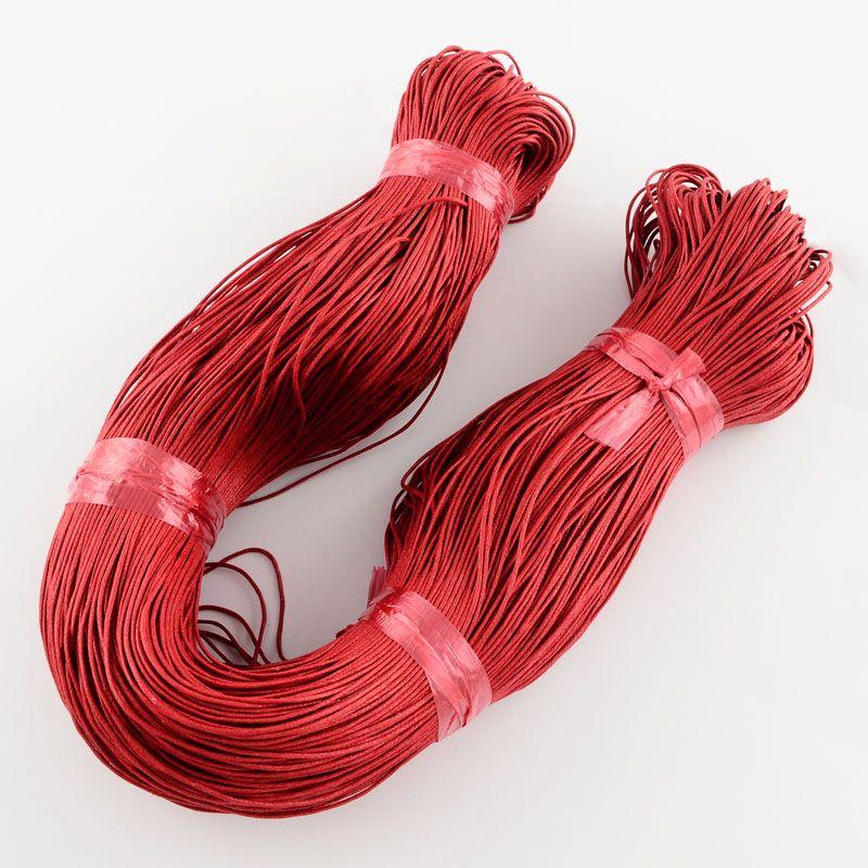 Voskovaná šnůra 1 m - červená